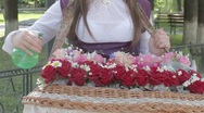 Stock Video Footage of Young woman holding rose bouquet on tray, spraying, adjusting them