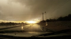 Chasing the storm - series - inside a torrential monsoon storm dash cam pt B 4 - stock footage