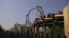 Theme Park Amusements - Looping Roller Coasters HD Stock Footage