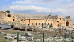 Amphitheatre of Hierapolis ancient city. Turkey Stock Footage