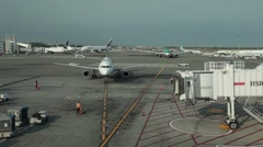 Airport aircraft arriving at gate P HD 9569 Stock Footage