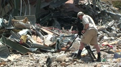 Earthquake Destruction Indonesia - News Cameraman In Disaster Zone Stock Footage