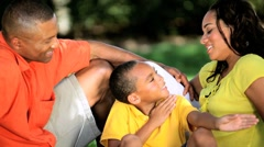 Loving African American Family Outdoors - stock footage