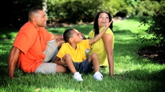 Healthy Ethnic Family Spending Time Outdoors - stock footage