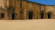 Puerto Rico - El Morro Fortress - Lower Dirt Inner Patio Stock Footage