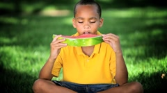 African American Child Eating Water Melon Stock Footage