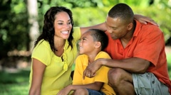 Young Ethnic Family Together Outdoors Stock Footage