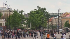 View to Herbert C. Hoover Square, Warsaw, Poland Stock Footage