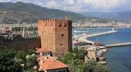 Kızıl Kule - Red Tower, Alanya, Turkey Stock Footage