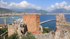 Kızıl Kule - Red Tower, Alanya, Turkey Stock Footage