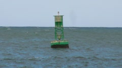 Green Bouy at sea Stock Footage