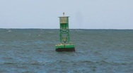 Stock Video Footage of Green Bouy at sea
