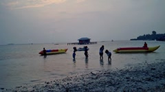 Children Playing in Beach Stock Footage