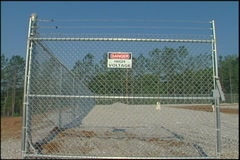 High voltage sign wide shot Stock Footage