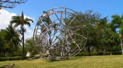 Stainless Steel Nautilus Sculpture Stock Footage