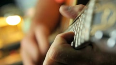 PLAYING ACOUSTIC GUITAR CLOSE-UP Stock Footage