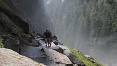 Hikers climbing Mist trail at Yosemite National Park Stock Footage