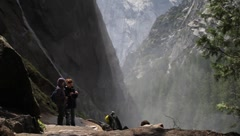 Hikers on the Mist Trail beside the Vernal Falls - stock footage