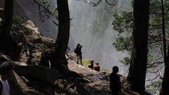 Mist Trail along the Vernal Falls Stock Footage