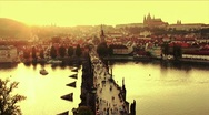 Charles Bridge Sunset Stock Footage