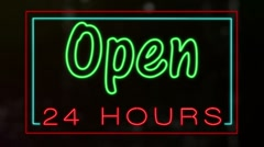 Neon Open 24 Hours Sign Loop Stock Footage