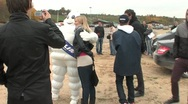 Stock Video Footage of hug, man, photographed and inflatable puppets, white, holiday