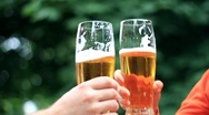 Toast with glass of beer, slow motion HD Stock Footage
