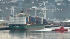 Container Ship and Tug Boat Stock Footage