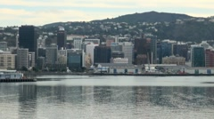 Wellington Harbour View on a Dull Day Stock Footage