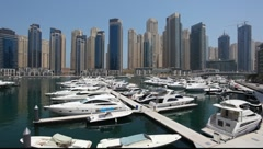 Luxury yachts at Dubai Marina Stock Footage