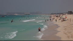 Beach at Jumeirah Beach Residence in Dubai Marina Stock Footage