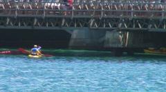 Stock Video Footage of Puerto Rico - People exercising in Kayaks under bridge in Condado Lagoon 3