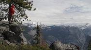 Stock Video Footage of Hikers on Glacier Point, Yosemite National Park