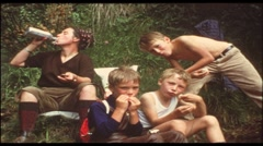 Picknick in the 1960s (vintage 8 mm amateur film) - stock footage