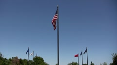 American Military Flags Waving in the Wind Stock Footage