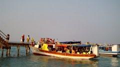 Ships Passengers of Tidung Island Jakarta Stock Footage