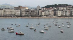 Yachts at the bay in San Sebastian, Spain Stock Footage