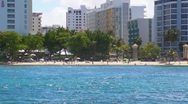Stock Video Footage of Puerto Rico - Condado Beach at Condado Tourist/Hotel sector 6