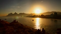 Sunset on the beaches of Rio de Janeiro, time lapse Brazil FULL HD 1080P Stock Footage