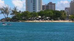 Puerto Rico - Jet Ski n Snorkling at Condado Beach - Condado Tourist sector  2 Stock Footage
