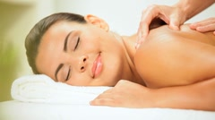 Luxury Health Spa Client Receiving Massage Therapy Stock Footage
