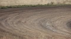 Stock cars dirt track corner fast P HD 9395 Stock Footage
