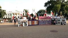 Viva Ashraf protesters standing in front of white house - stock footage