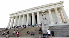 Wide angle view of outside Lincoln Memorial Stock Footage