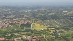Aerial view of Republic of San Marino, Italy, Europe Stock Footage