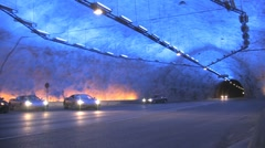Cars in a tunnel cavern Stock Footage
