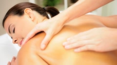 Brunette Client Receiving Body Massage at Spa Club Stock Footage