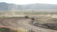 Dirt Track race trucks in turn P HD 9365 Stock Footage