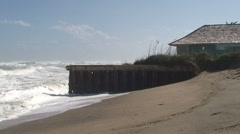 Oceanfront Home With Crashing Large Waves Stock Footage