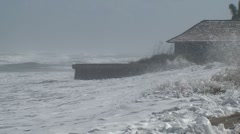 Coastal Flooding and Severe Beach Erosion Stock Footage